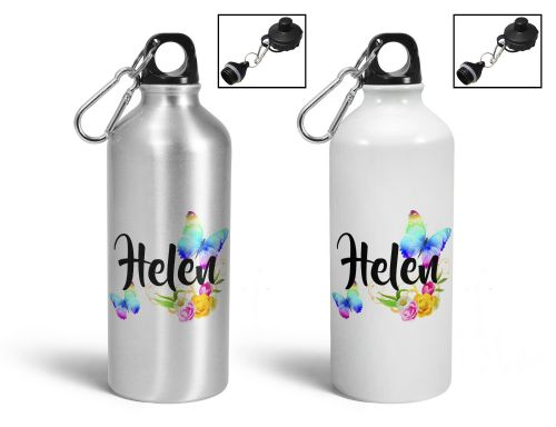Personalised Beautiful Butterflies & Flowers Novelty Gift Aluminium Sports Water Bottle / Canteen